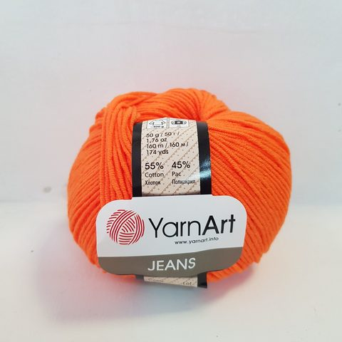 Пряжа YarnArt JEANS - (77-ярко-оранжевый)