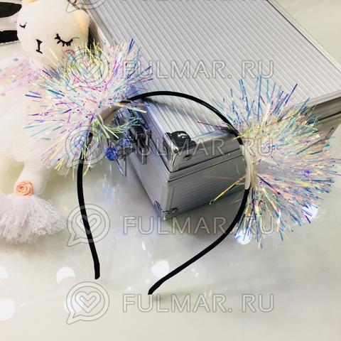 Ободок на голову новогодний Ушки Пушистые Снежинки