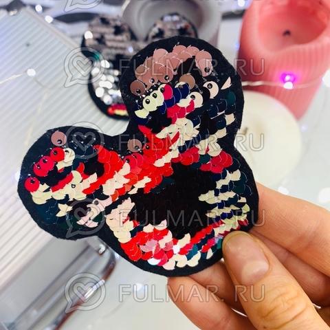 Термоаппликация двусторонняя Микки с двусторонним пайетками цвет: Радужный-Серебристый (7,5х7,5 см) символ 2020 года Мышка