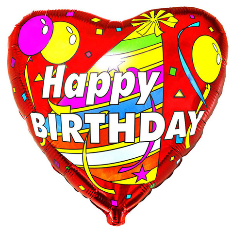Шар Сердце Happy Birthday
