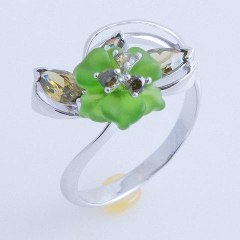 Кольцо с цветком из кварца и фианитами Арт.1212зз