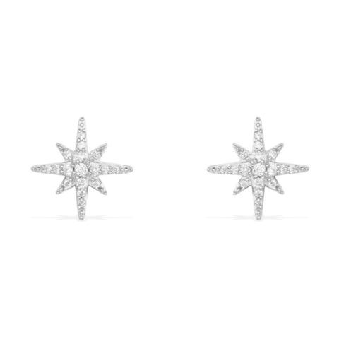 Серьги-пусеты Meteorites из серебра с цирконами