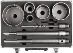 Набор буровых коронок ЗУБР, 5шт/33,50,68,82,100мм, с державками SDS-PLUS и SDS-MAX, 10предметов