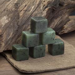 Камни для охлаждения виски из нефрита. Набор от 3 шт. в холщовом мешочке.