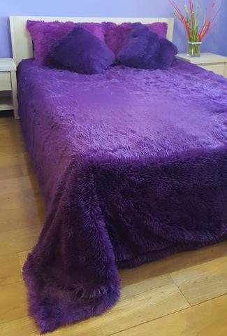 Плед с длинным ворсом, фиолетовый