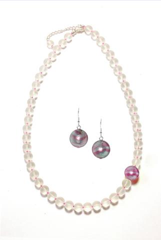 Комплект украшений Satinato (бусы, серьги) цвет Pink