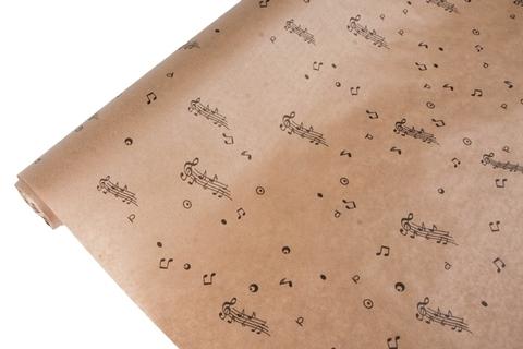 Бумага крафт 40гр/м2, 70см x 10м, Ноты, чёрный