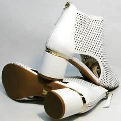 Женские летние ботинки ботильоны с толстым каблуком Magnolya 3503 56-3 SummerWhite