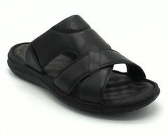 Черные кожаные сабо на гибкой подошве