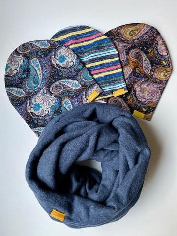 Комплект шерстяной темно-синий с узором пейсли и с полоской