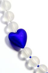 Комплект Cuori Satinato синий (бусы, браслет)