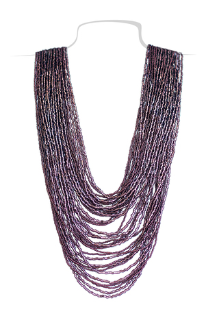 Бисерное ожерелье из 36 нитей фиолетовое длинное