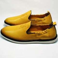 Мужские летние туфли стиль смарт кэжуал King West 053-1022 Yellow-White.