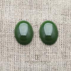 Кабошон овальный 20 х 15мм. Зелёный нефрит (бриле).