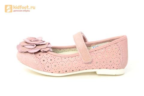 Детские туфли Котофей 332037-22 из натуральной кожи, для девочки, розовые. Изображение 3 из 14.