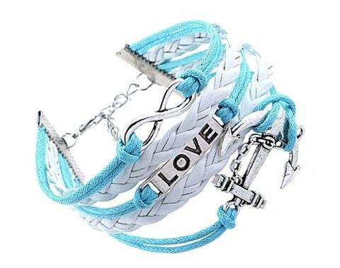 Браслет с якорем и надписью LOVE (голубой)