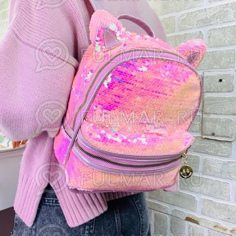 Рюкзак с кошачьими ушками в двусторонних пайетках Розовый блестящий-Розовый матовый