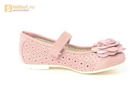 Детские туфли Котофей 332037-22 из натуральной кожи, для девочки, розовые. Изображение 2 из 14.