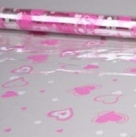 Пленка цветная Валентин 70см х 7м Цвет: розово-белый