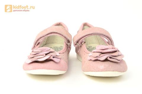 Детские туфли Котофей 332037-22 из натуральной кожи, для девочки, розовые. Изображение 5 из 14.