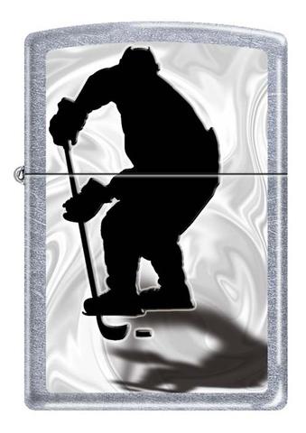 Зажигалка Zippo Хоккеист, латунь/сталь с покрытием Street Chrome™, серебристая, матовая, 36x12x56 мм123