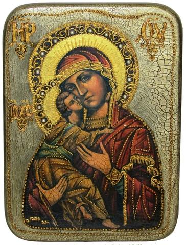 Инкрустированная икона Образ Божией Матери Владимирской 29х21см на натуральном дереве в подарочной коробке