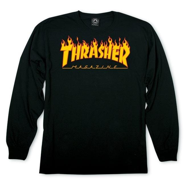Лонгслив THRASHER Flame Logo Black