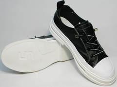 Летние женские кроссовки туфли кожаные женские El Passo sy9002-2 Sport Black-White.