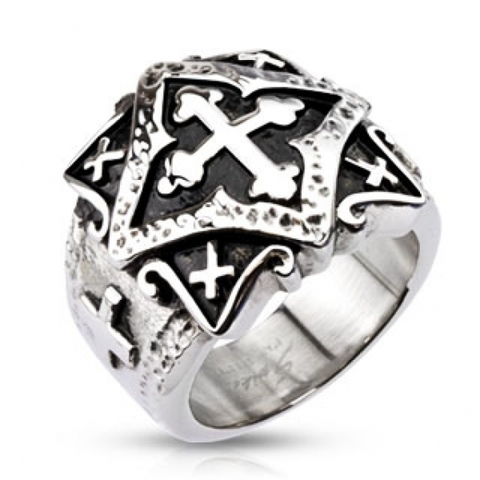Перстень печатка с крестами для мужчин и женщин из нержавеющей ювелирной медицинской хирургической стали 316L SPIKES R-H3790
