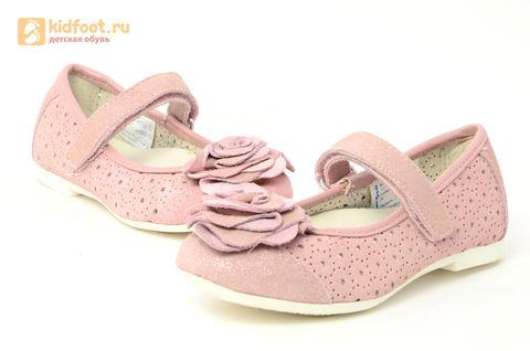 Детские туфли Котофей 332037-22 из натуральной кожи, для девочки, розовые. Изображение 8 из 14.