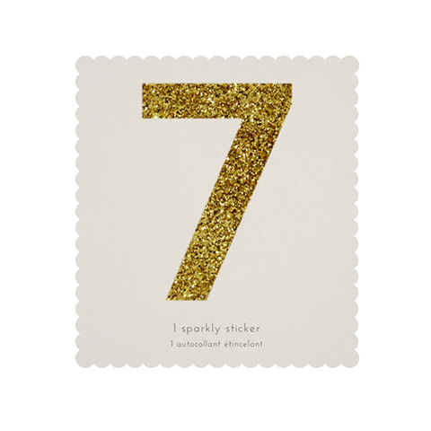 Стикер 7, мерцающее золото