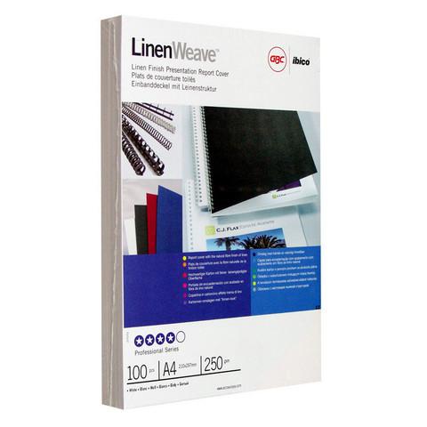 Обложки для переплета картонные GBC А4 250 г/кв.м белые текстура лен (100 штук в упаковке)