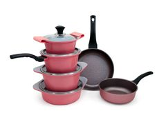 Набор посуды Ecoramic с каменным покрытием (розовый)
