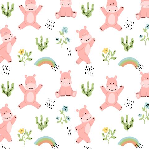 веселые розовые бегемотики