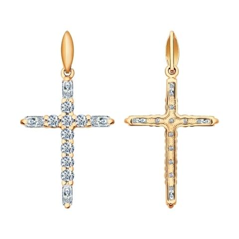 93030282-Крест из золочёного серебра с фианитами от SOKOLOV в стиле Тиффани