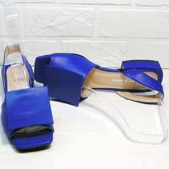 Красивые босоножки на каблуке с открытым носом Amy Michelle 2634 Ultra Blue.