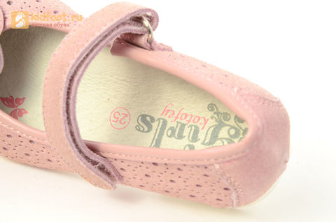 Детские туфли Котофей 332037-22 из натуральной кожи, для девочки, розовые. Изображение 14 из 14.