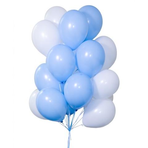 Воздушные шары с гелием Бело-голубые