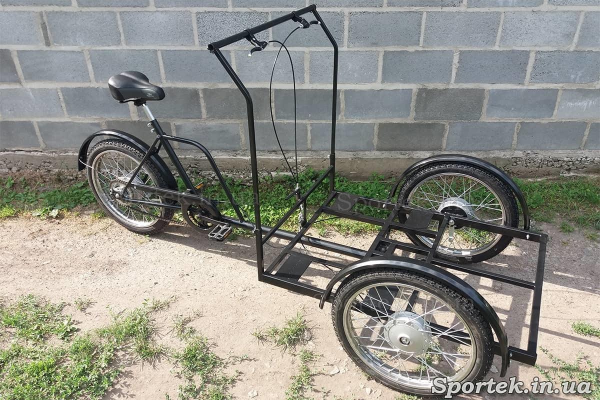 Трехколесный велосипед с передней платформой (грузоподъемность до 300 кг) для уличной торговли 'Арден' (черный)