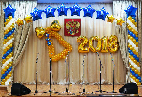 колокольчик из шаров,  арка из шаров, фонтан из шаров, оформление школы