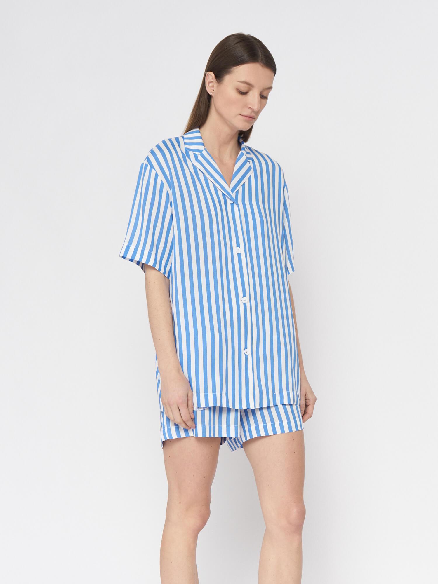Рубашка в полоску Lexi в пижамном стиле, Голубой
