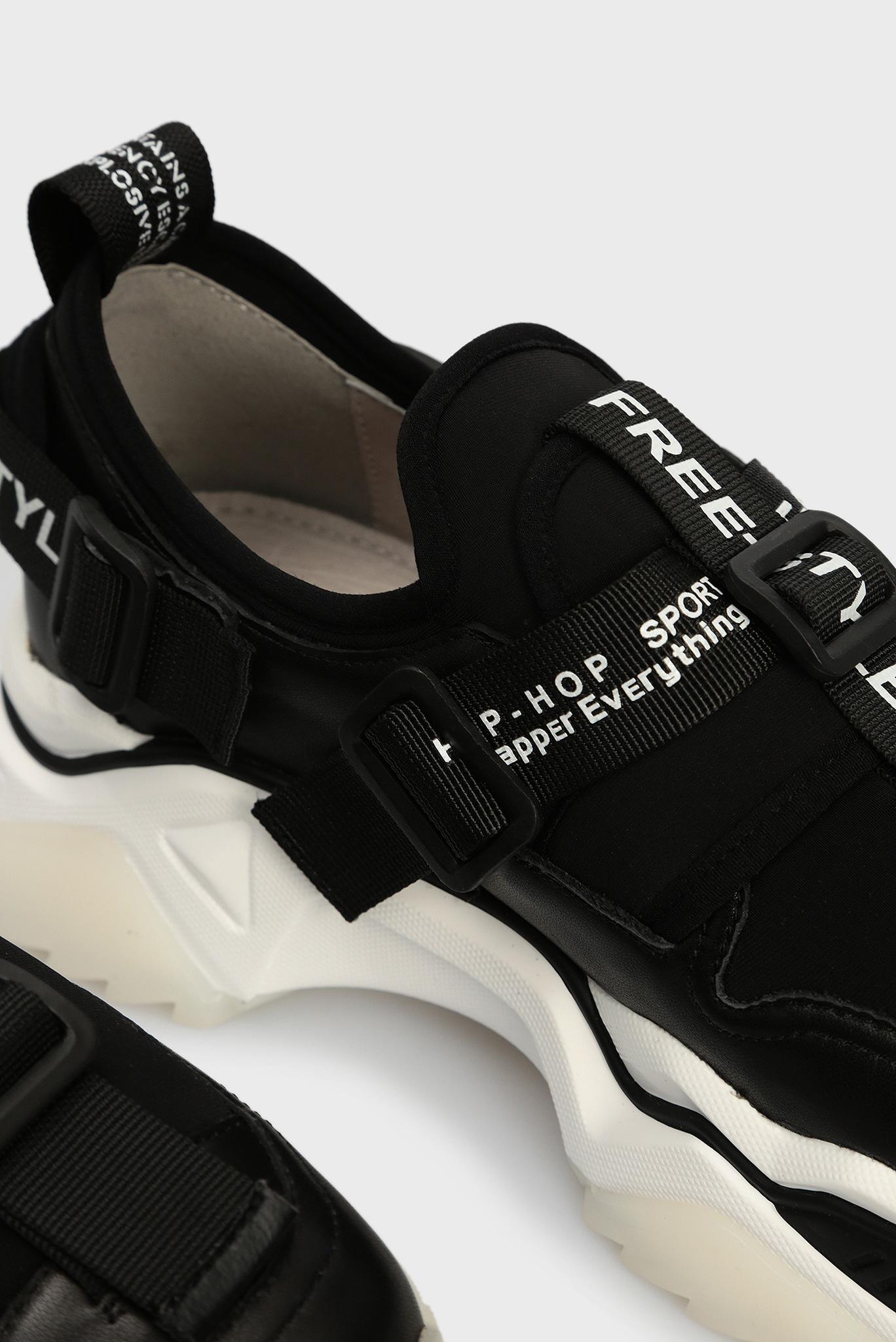 Женские черные кожаные кроссовки Preppy