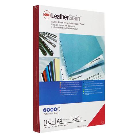 Обложки для переплета картонные GBC А4 250 г/кв.м красные текстура кожа (100 штук в упаковке)