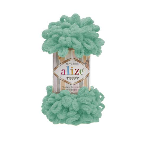 Купить Пряжа Alize Puffy Код цвета 490 Зеленая бирюза | Интернет-магазин пряжи «Пряха»