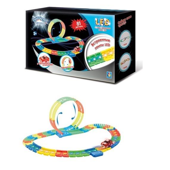 Светящийся LED гибкий трек со светодиодными лампами 1 Toy 81 деталь