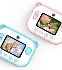Детский фотоаппарат с печатью фото мишка розовый голубой