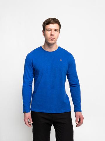 Long-sleeved crewneck blue t-shirt