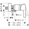 Смеситель для душа Hansgrohe Metris S,  31660000 схема