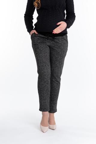 Утепленные брюки для беременных 10078 черный меланж