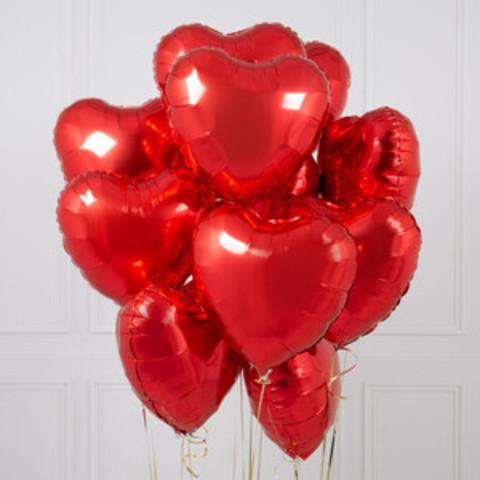 Фольгированные красные сердца